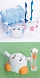 Подставка для 4-х зубных щеток с песочными часами на 3 минуты